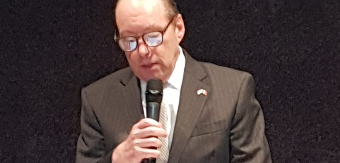 U.S.Ambassador to Belgium Ronald Gildwitz addresses a conference organized by CCOJB, the umbrella federation of Belgian Jewish organisations, in Brussels.