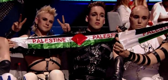 Palestinian flags raised during Eurovision Song Contest final in Tel Aviv, The Netherlands big winner