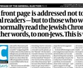 British Jewish paper publishes editorial urging non-Jews not to vote for Jeremy Corbyn's Labour
