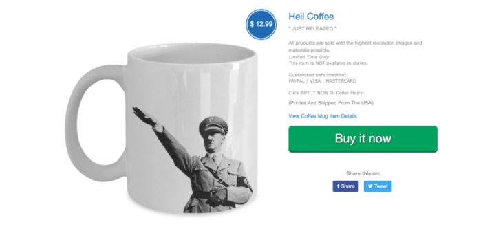 E-commerce platform sells Nazi-glorifying merchandise, despite removal request