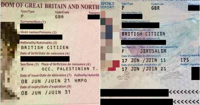 Israeli's birthplace switched from 'Jerusalem' to 'Occupied Territories' on new UK passport
